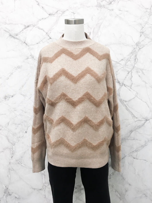 Charles Chevron Sweater in Mocha