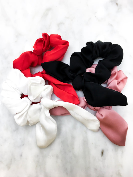 Solid Satin Tail Scrunchies