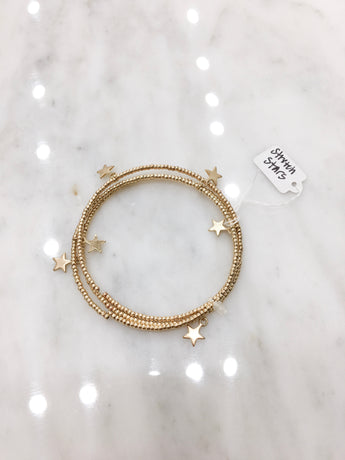 Beaded Wire Stretch Bracelet in Gold Stars