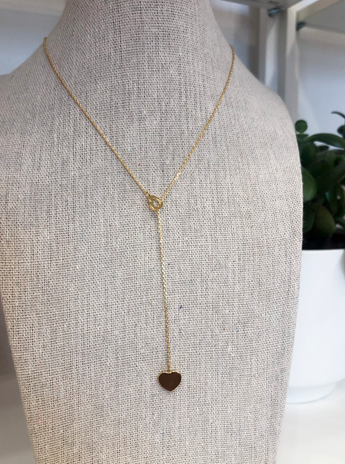 Double Heart Necklace in Gold