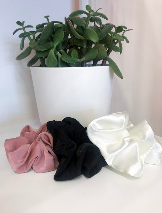 Softest Satin Solids in Rose, Off-White and Black