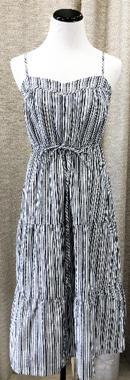 Halsey Striped Tiered Cami Dress in Navy