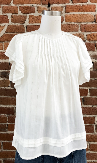 Ivan Sleeveless Pleated Top in White