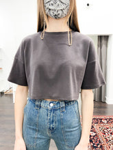 Load image into Gallery viewer, Tori Cropped Tee in Charcoal