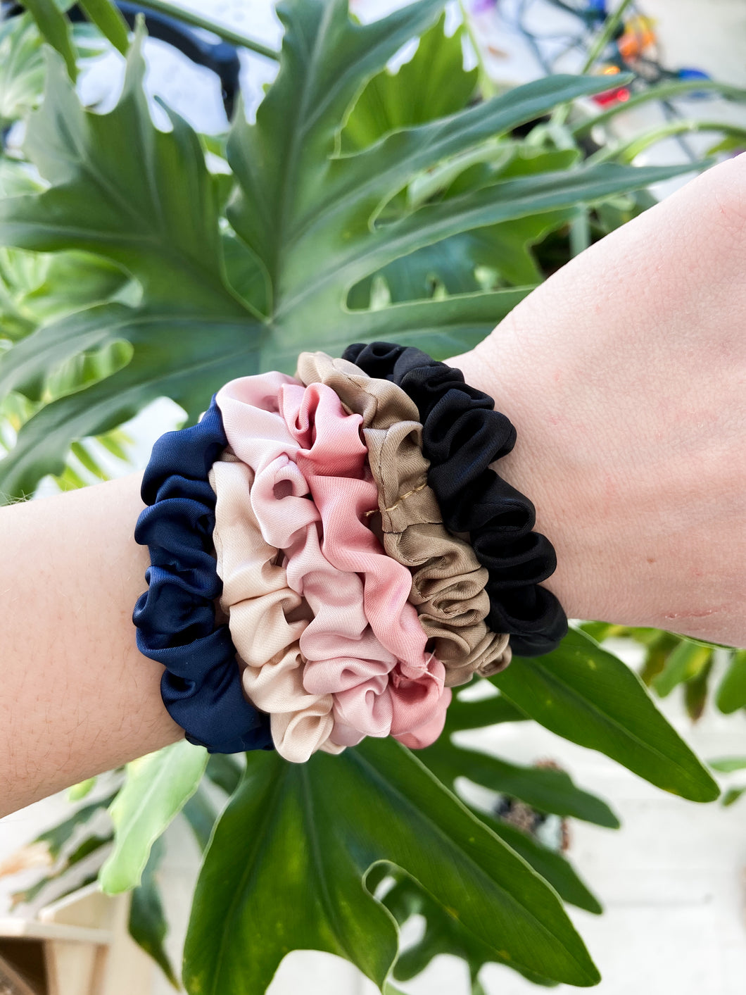 Solid Satin Mini Scrunchie Set of 6