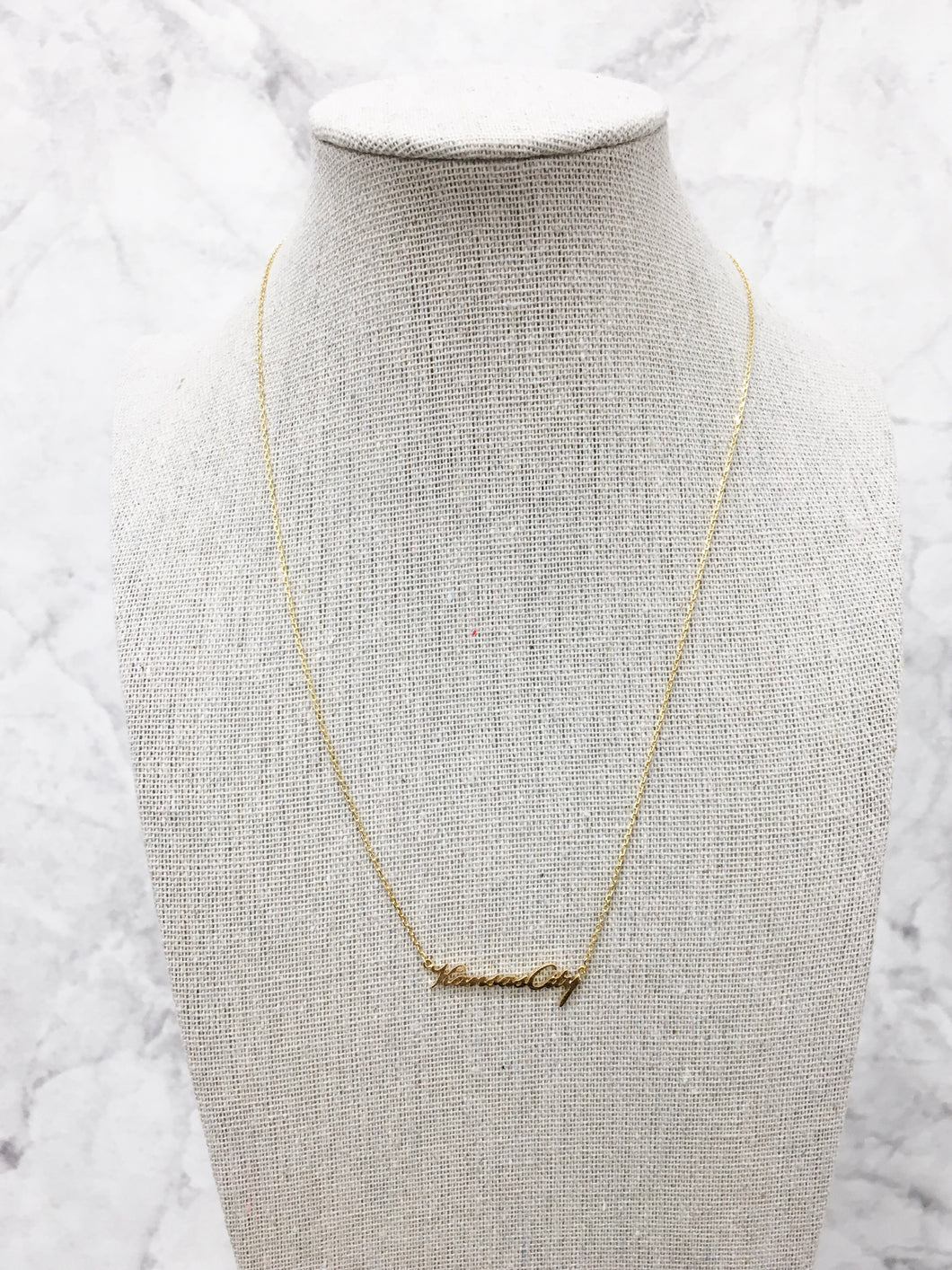 Kansas City Script Necklace in Gold