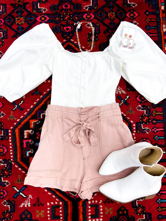 Alicia Highwaisted Paperbag Shorts in Rose