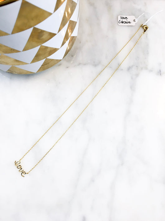 Dainty Necklace - love cursive in Gold
