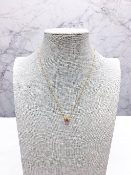Ashlee Necklace in Rose Quartz