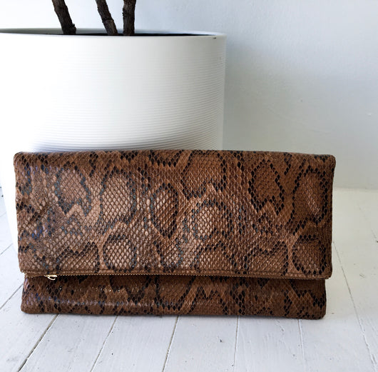 Python Clutch in Brown