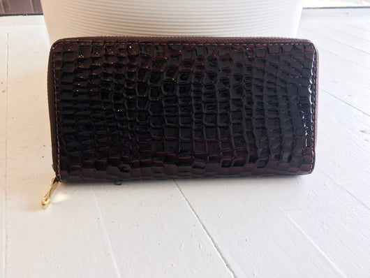 Accordion Wallet in Brown Snake