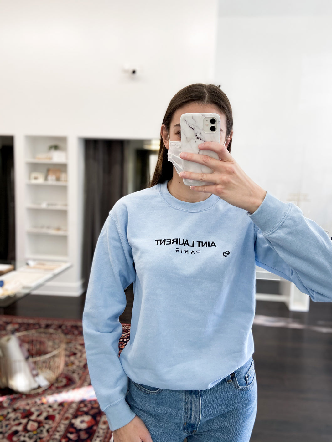 Aint Laurent Sweatshirt in Baby Blue