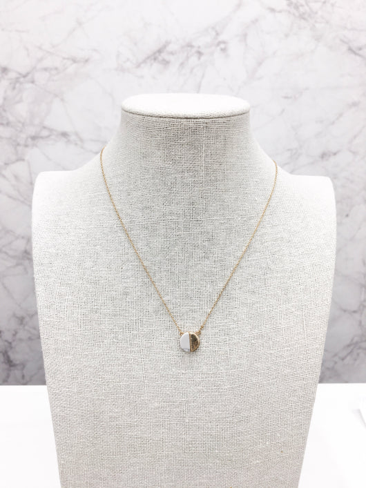 Dainty Necklace - Semi-Circles in Howlite & Gold