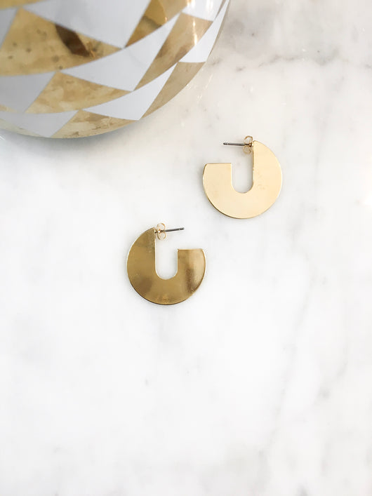 Disc Hoops in Gold