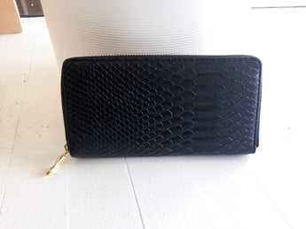 Accordion Wallet in Black Snake