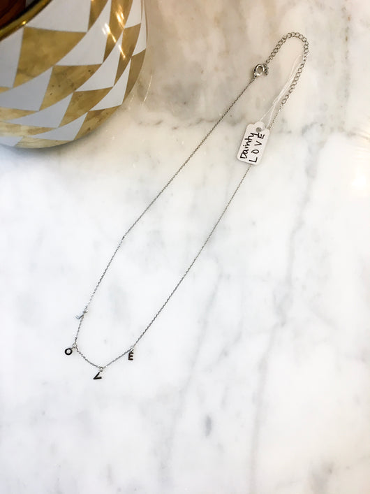 Dainty Necklace - LOVE in Silver