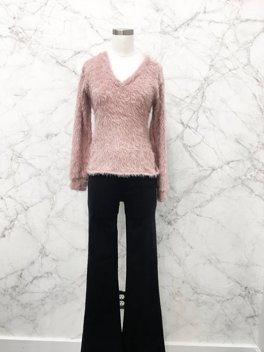 Rosewood Shaggy Knot Sweater in Blush - FINAL SALE