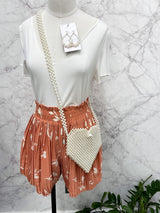 Sammie Pleated Paperbag Shorts in Salmon