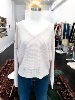 Ronnie Waffle Weave Top in Cream