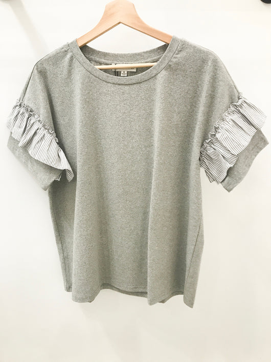 Grey Top with Ruffle on Sleeves