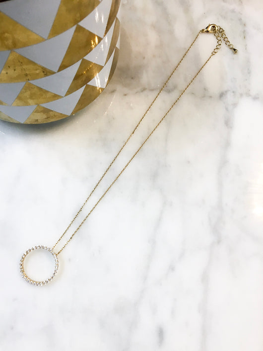 Dainty Necklace - Crystal O in Gold