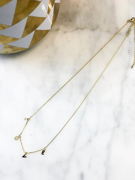 Dainty Necklace - LOVE in Gold