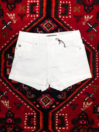 Dusk White Cuffed Denim Shorts - Final Sale