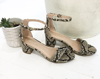 Jeane Low-Heeled Sandal in Python
