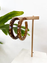 Load image into Gallery viewer, Camille Studded Hoop Earrings in Toffee