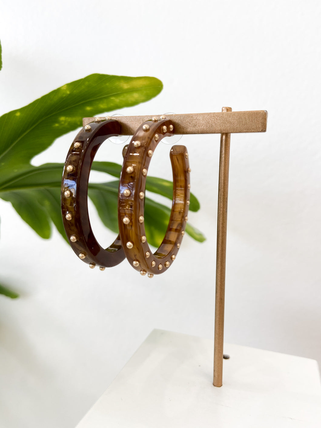 Camille Studded Hoop Earrings in Toffee