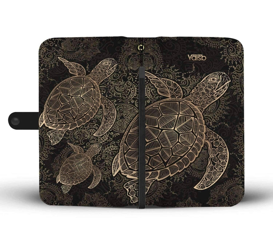 Gold Sea Turtle - Custom Made RFID-Blocking Wallet Case