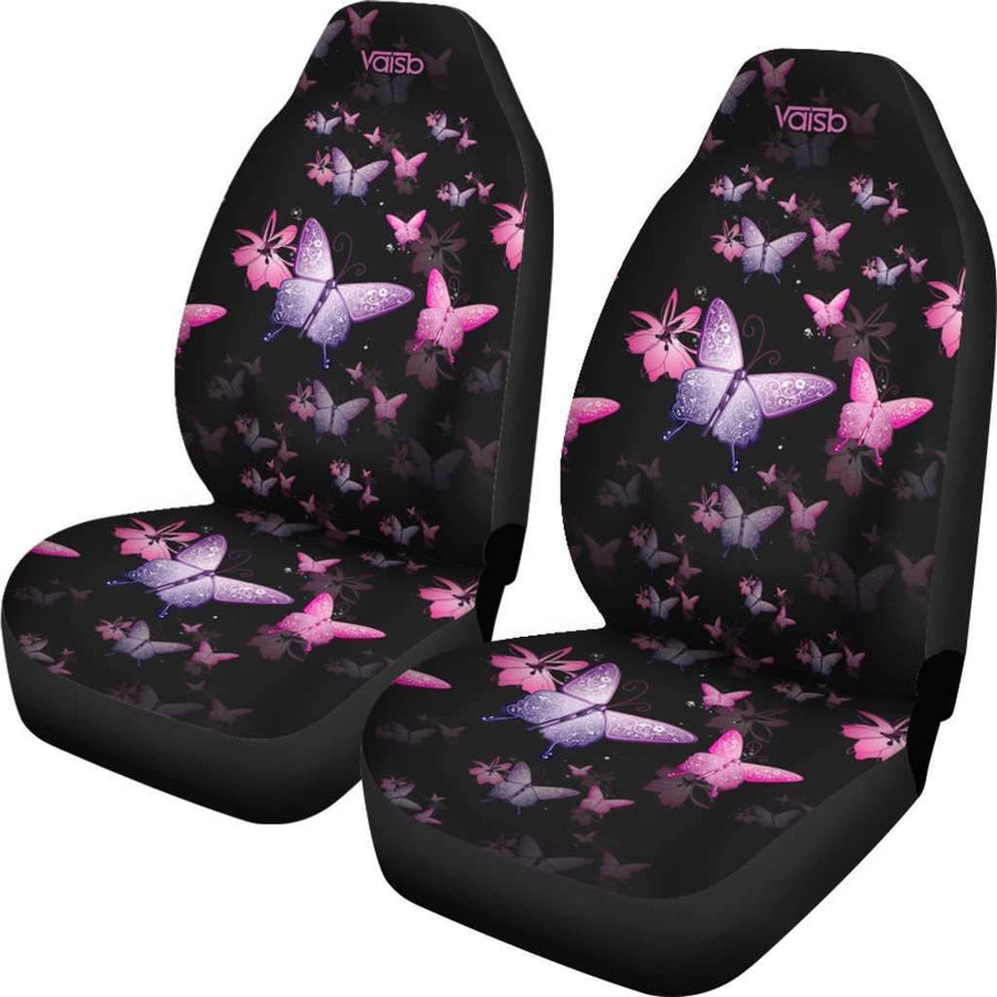 [Set of 2] Butterfly - High Quality Premium Car Seat Covers [Pink]