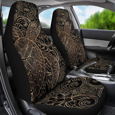 [Set of 2] Gold Sea Turtle - High Quality Premium Car Seat Covers [Black]