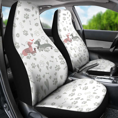 [Set of 2] Dachshund - High Quality Premium Car Seat Covers [White]