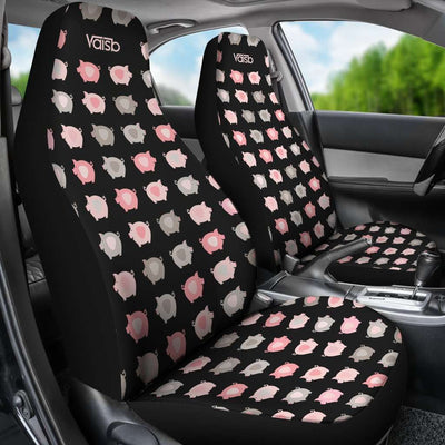 [Set of 2] Little Piggy - High Quality Premium Car Seat Covers [Black]