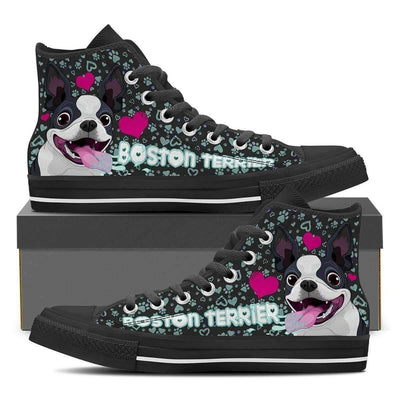 High Top Sneakers - Boston Terrier Shoes - Women's High Top Custom Shoes In Black