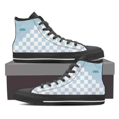 High Top Sneakers - Checkered - Women's High Top Canvas Sneakers (Black)