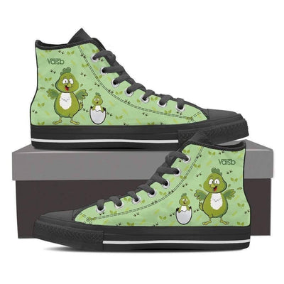 High Top Sneakers - Chicken Farm Shoes - Women's High Top Custom Sneakers In Black