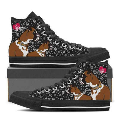 High Top Sneakers - Cute Boxer Shoes - Women's High Top Sneakers In Black