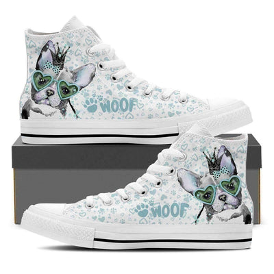High Top Sneakers - Cute Bulldog - Women's High Top Sneakers In White