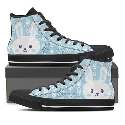 High Top Sneakers - Cute Bunny - Women's High Top Canvas Sneakers In Black