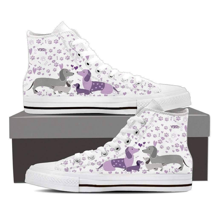 High Top Sneakers - Cute Dachshund Sneakers - Womens High Top Custom Shoes In White