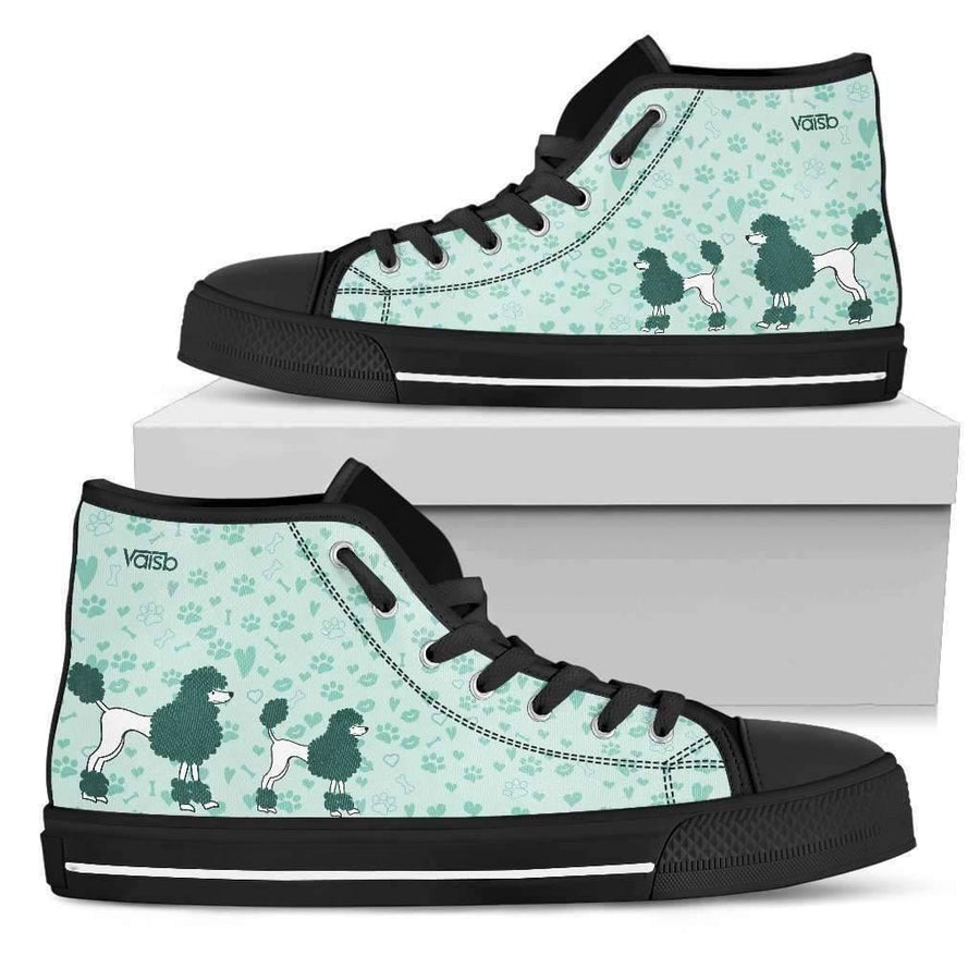 High Top Sneakers - Cute Poodle - Womens High Top Custom Sneakers In Black