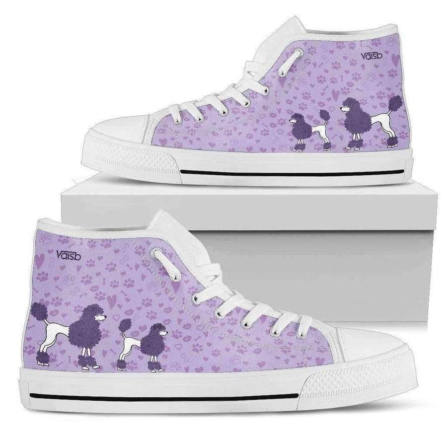 High Top Sneakers - Cute Poodle - Womens High Top Custom Sneakers In White