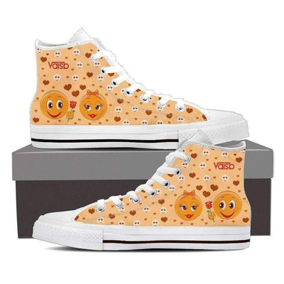 High Top Sneakers - Emoji Shoes - Womens High Top Custom Sneakers In White