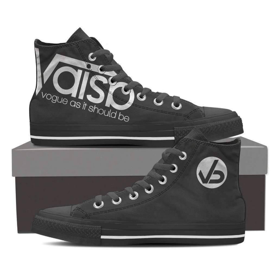 High Top Sneakers - Vaisb Classic - Men's High Top Canvas Black Sneakers