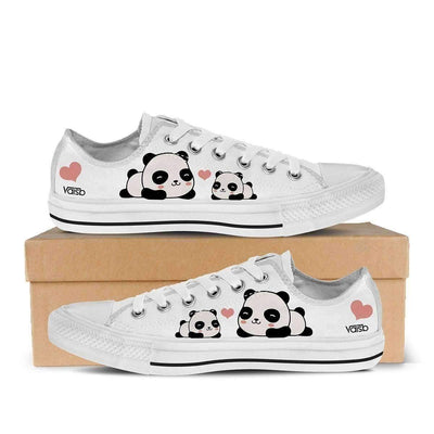 Low Top Canvas - Baby Panda - Women's Low Top Canvas Sneakers In White
