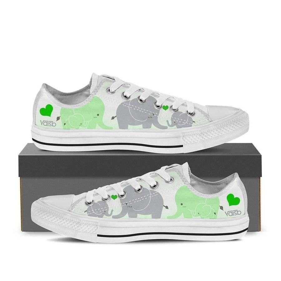 Low Top Canvas - Cute Elephant - Women's Low Top Canvas Sneakers