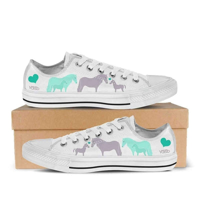 Low Top Canvas - Cute Horse - Women's Low Top Canvas Sneakers In White