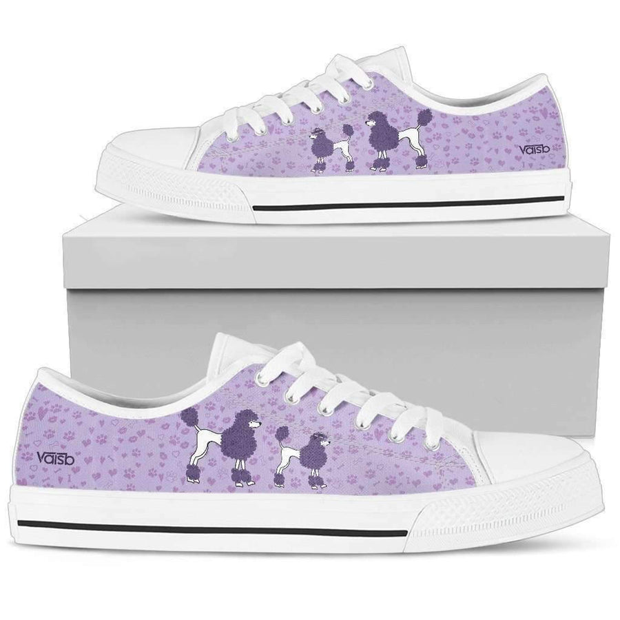 Low Top Canvas - Cute Poodle - Womens Low Top Canvas Sneakers In White